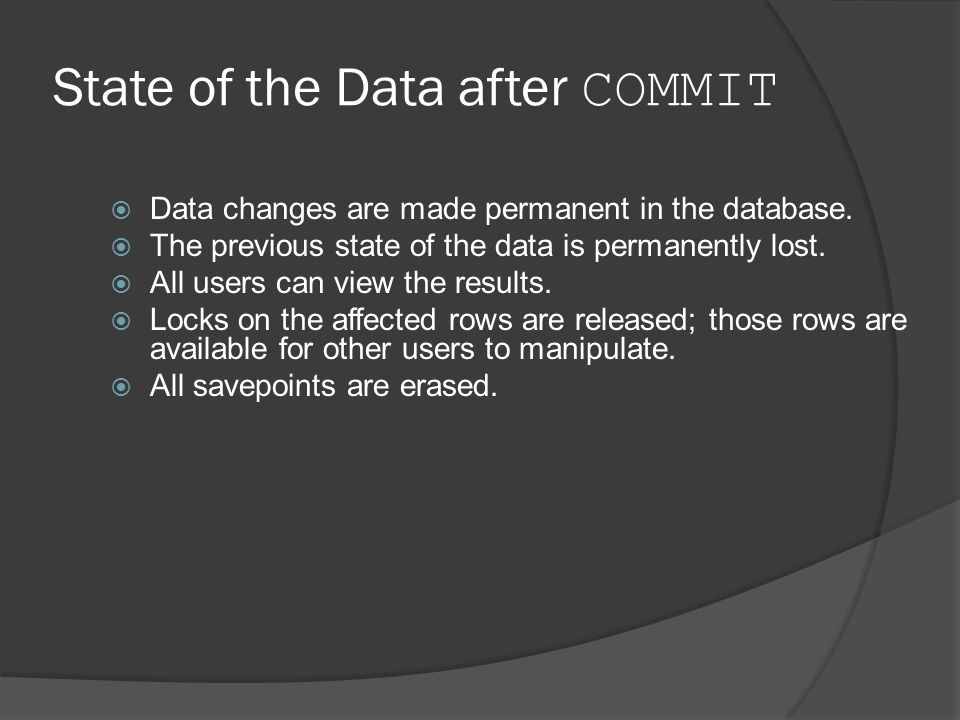 State of the Data after COMMIT