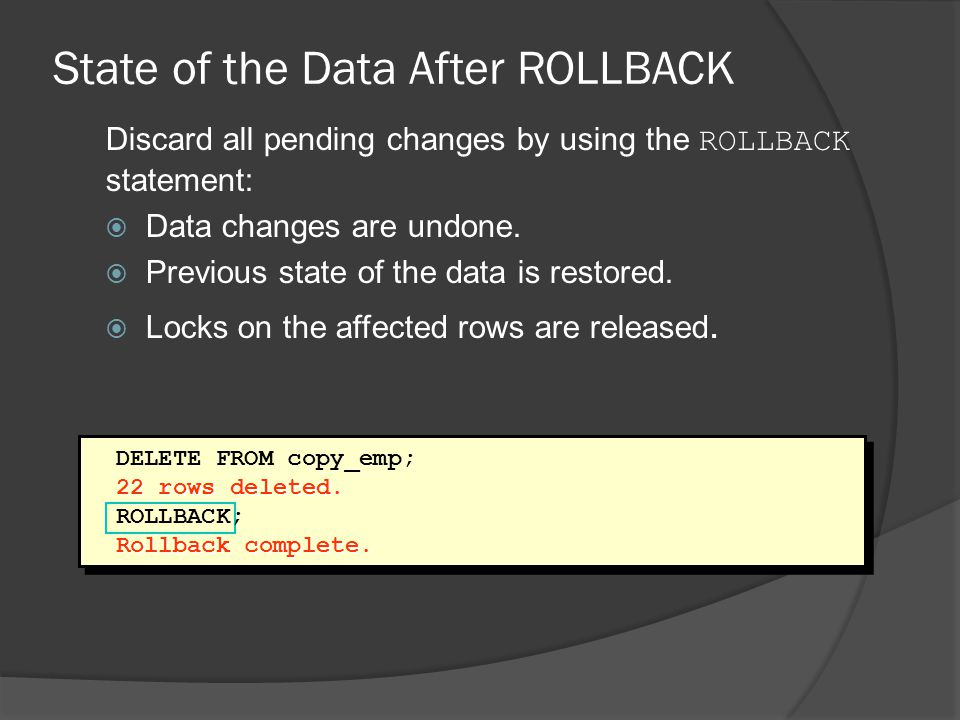 State of the Data After ROLLBACK