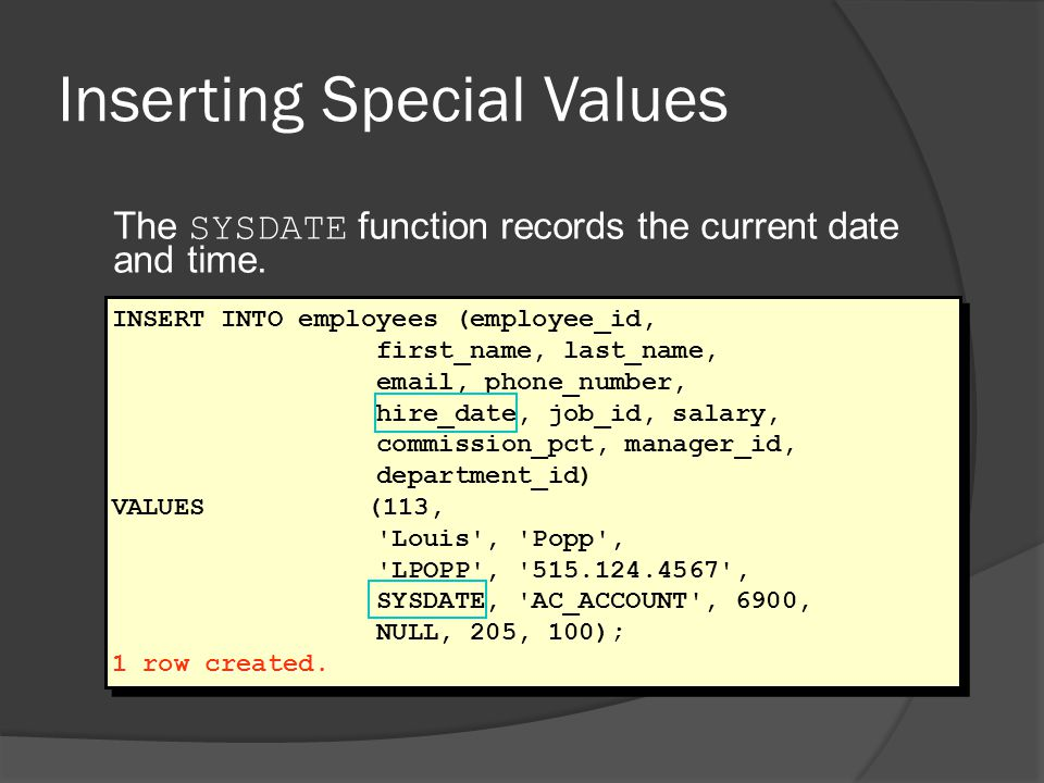 Inserting Special Values