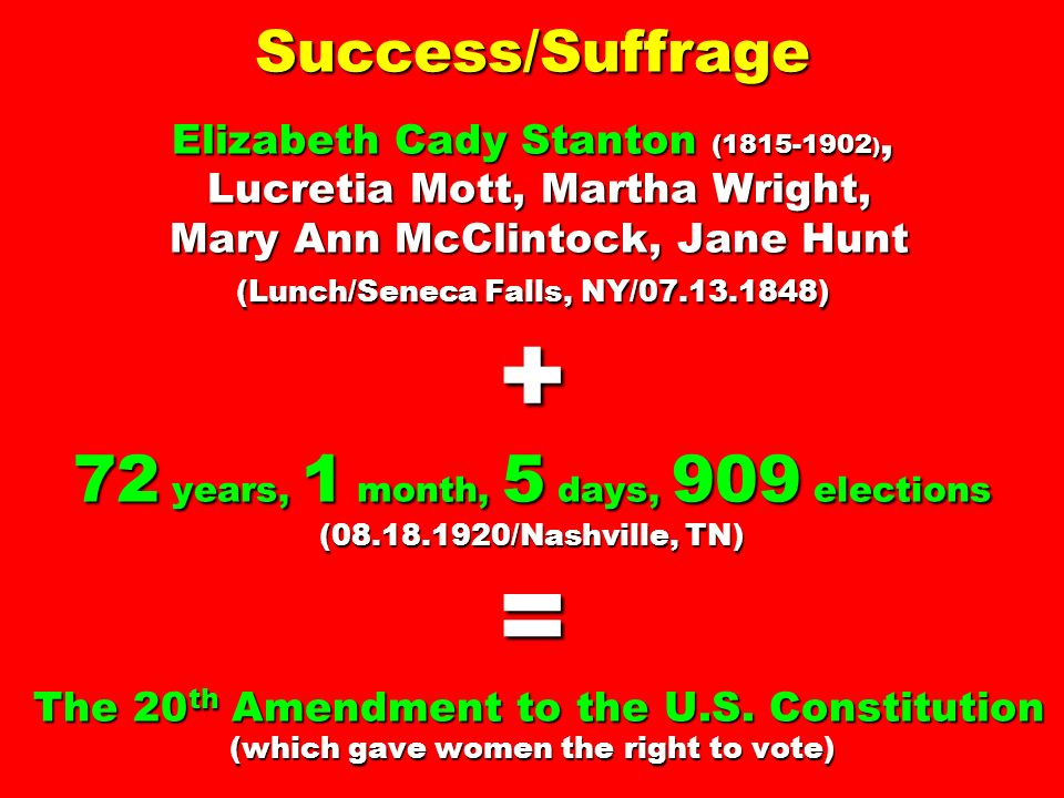 Success/Suffrage Elizabeth Cady Stanton ( ), Lucretia Mott, Martha Wright, Mary Ann McClintock, Jane Hunt (Lunch/Seneca Falls, NY/ ) + 72 years, 1 month, 5 days, 909 elections ( /Nashville, TN) = The 20th Amendment to the U.S.