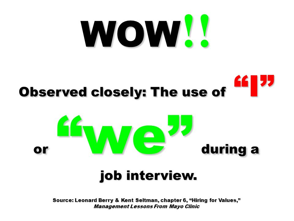 WOW!! Observed closely: The use of I or we during a