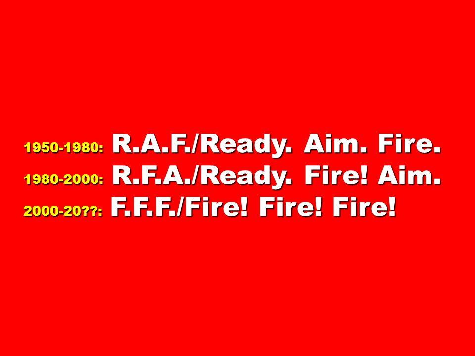 1950-1980: R.A.F./Ready. Aim. Fire. 1980-2000: R.F.A./Ready.