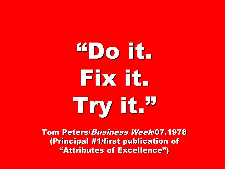 Do it. Fix it. Try it. Tom Peters/Business Week/07
