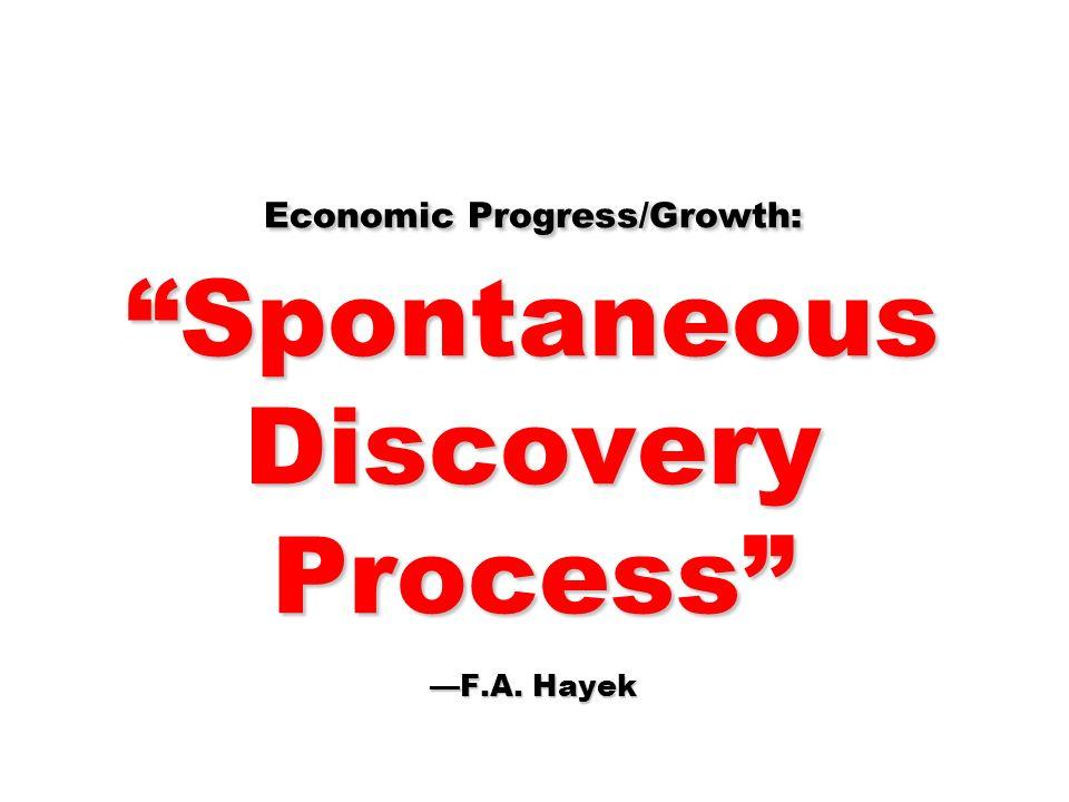 Economic Progress/Growth: Spontaneous Discovery Process —F.A. Hayek
