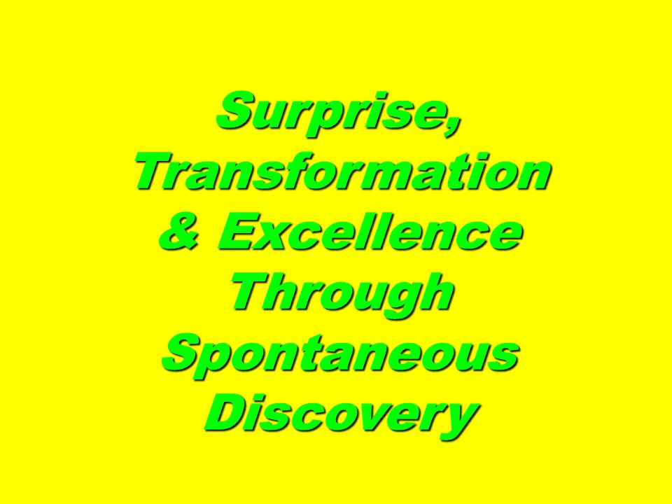 Surprise, Transformation & Excellence Through Spontaneous Discovery