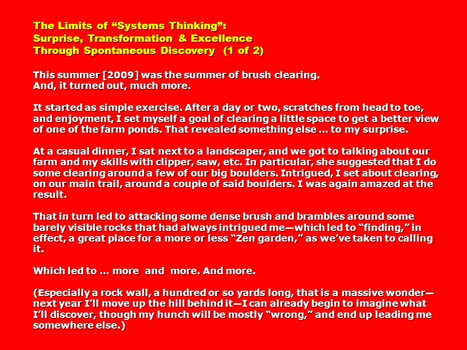 The Limits of Systems Thinking :