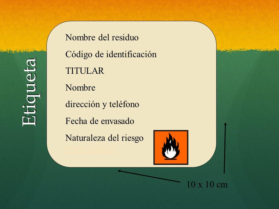 Etiqueta Nombre del residuo Código de identificación TITULAR Nombre