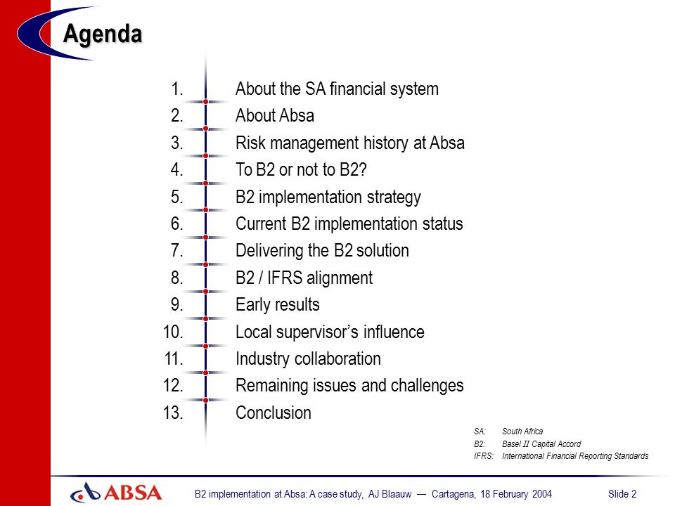 Agenda 1. About the SA financial system 2. About Absa