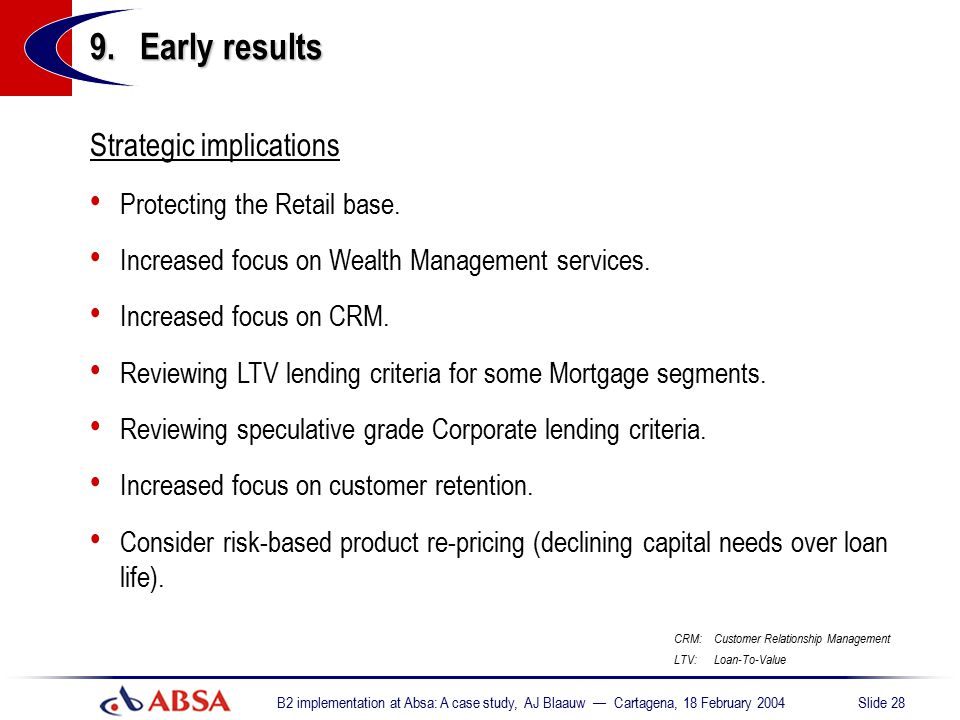 9. Early results Strategic implications Protecting the Retail base.