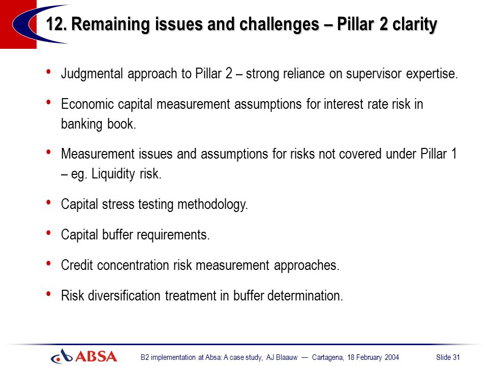 12. Remaining issues and challenges – Pillar 2 clarity