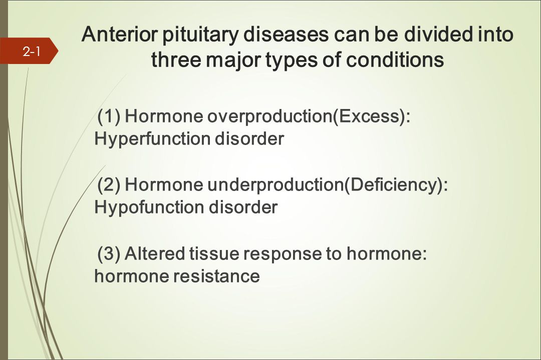 Anterior pituitary diseases can be divided into three major types of conditions