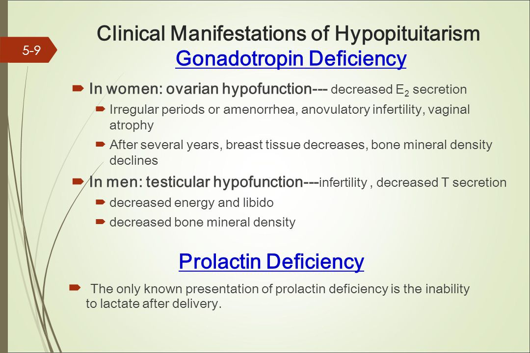 Clinical Manifestations of Hypopituitarism Gonadotropin Deficiency