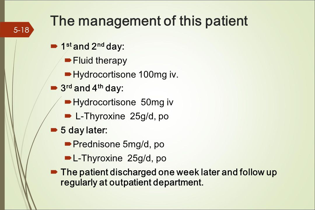 The management of this patient