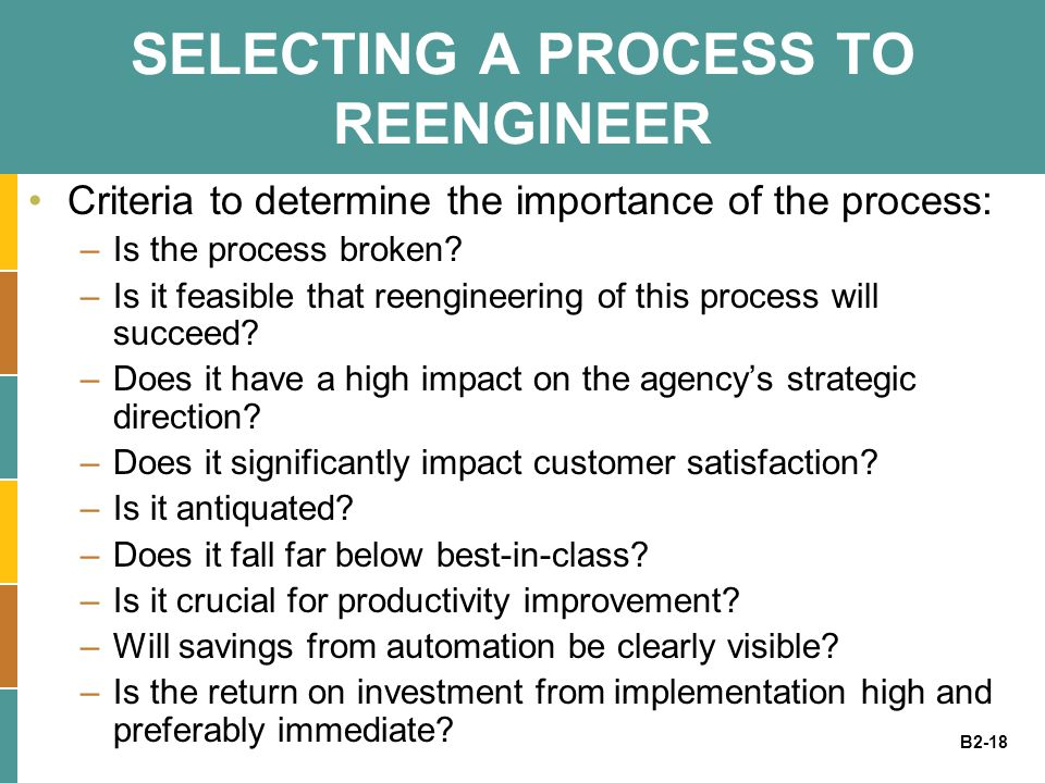 SELECTING A PROCESS TO REENGINEER