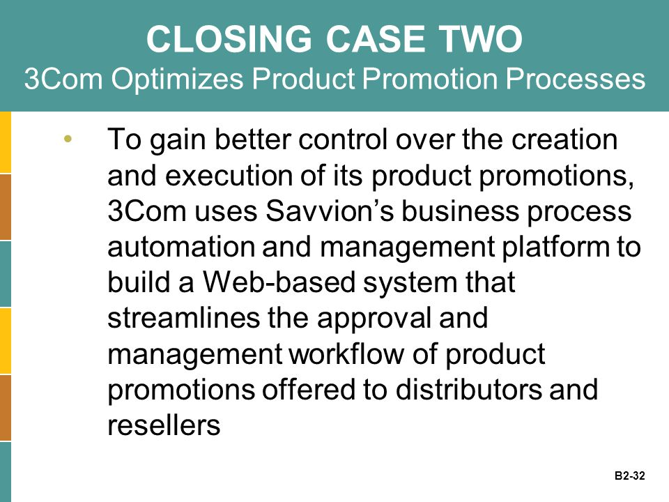 CLOSING CASE TWO 3Com Optimizes Product Promotion Processes