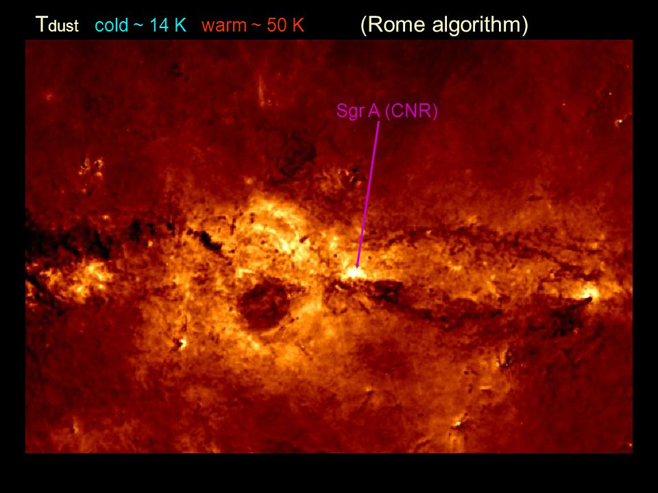 Tdust cold ~ 14 K warm ~ 50 K (Rome algorithm)