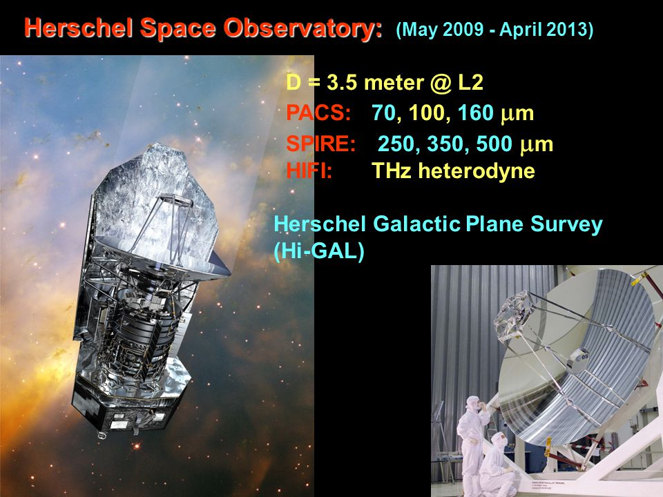 Herschel Space Observatory: (May 2009 - April 2013)