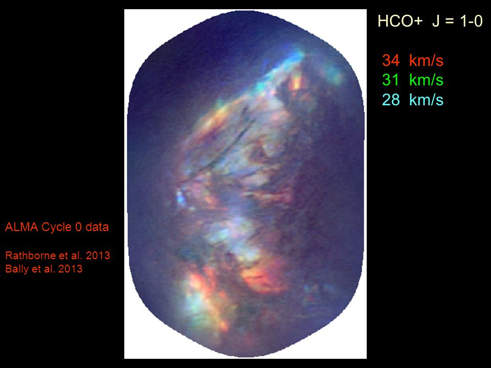 HCO+ J = 1-0 34 km/s 31 km/s 28 km/s ALMA Cycle 0 data