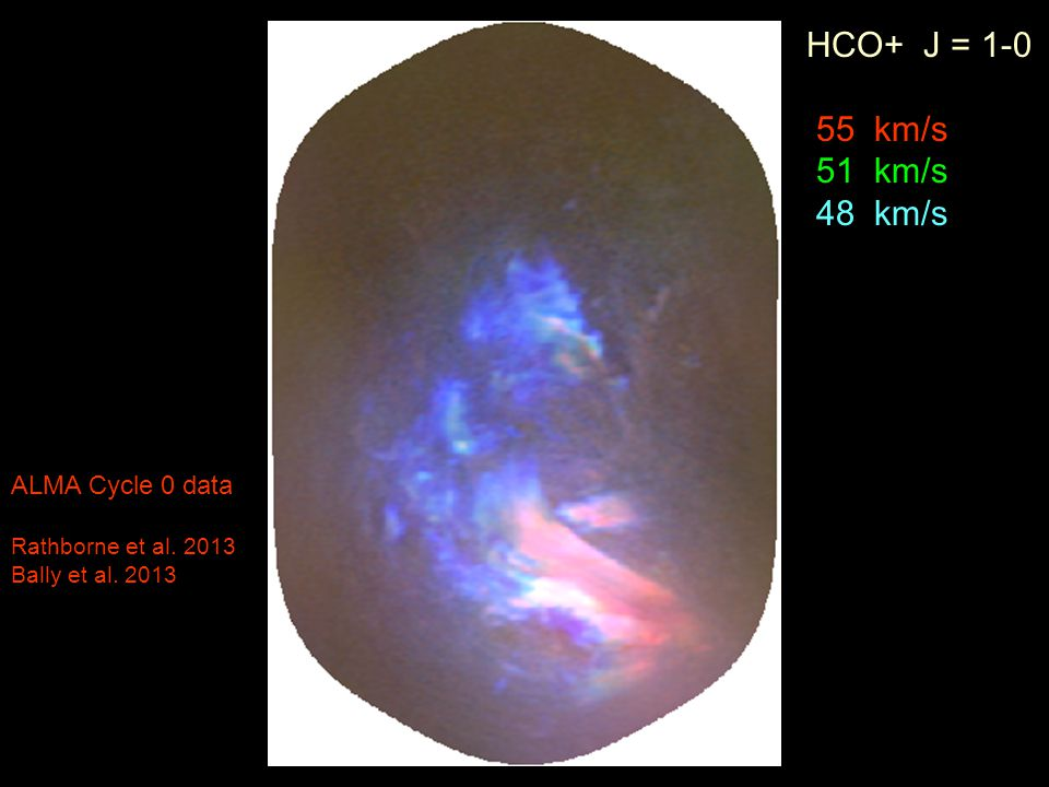 HCO+ J = 1-0 55 km/s 51 km/s 48 km/s ALMA Cycle 0 data