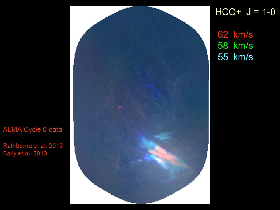 HCO+ J = 1-0 62 km/s 58 km/s 55 km/s ALMA Cycle 0 data