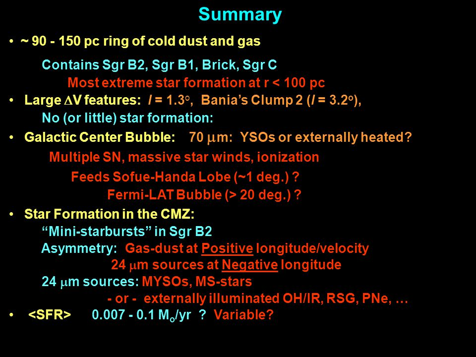Summary ~ 90 - 150 pc ring of cold dust and gas