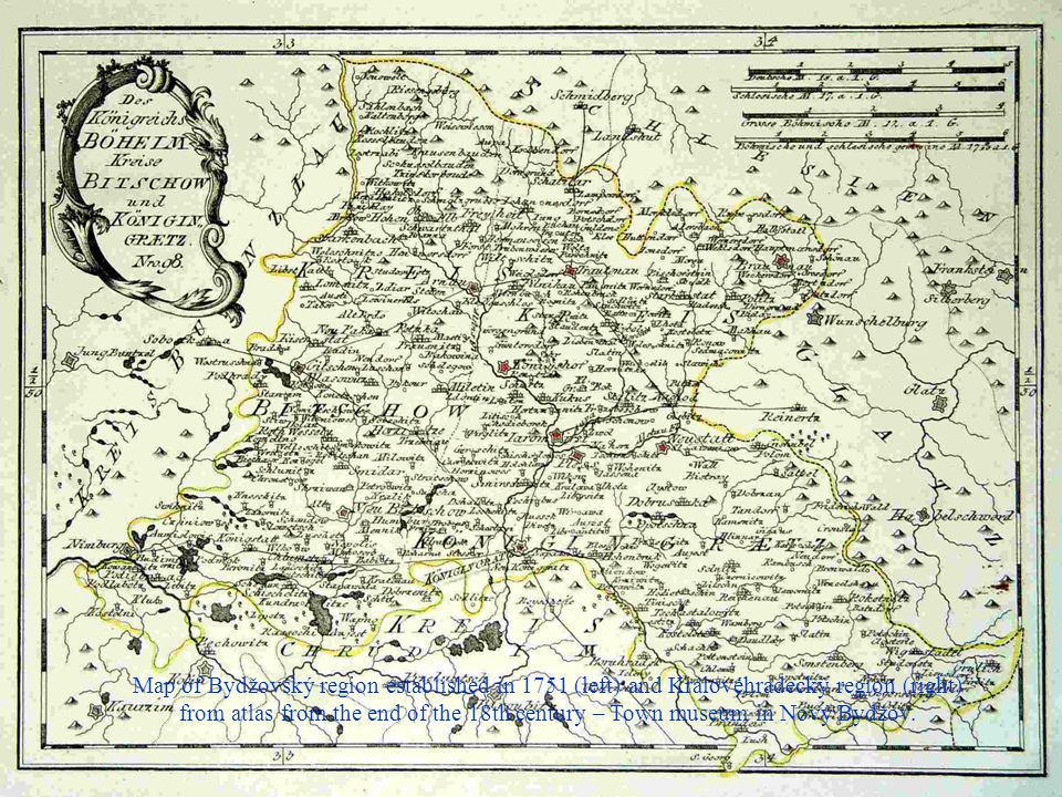 Map of Bydžovský region established in 1751 (left) and Královéhradecký region (right)