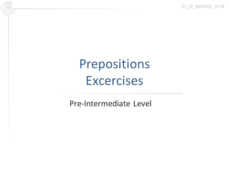 Prepositions Excercises