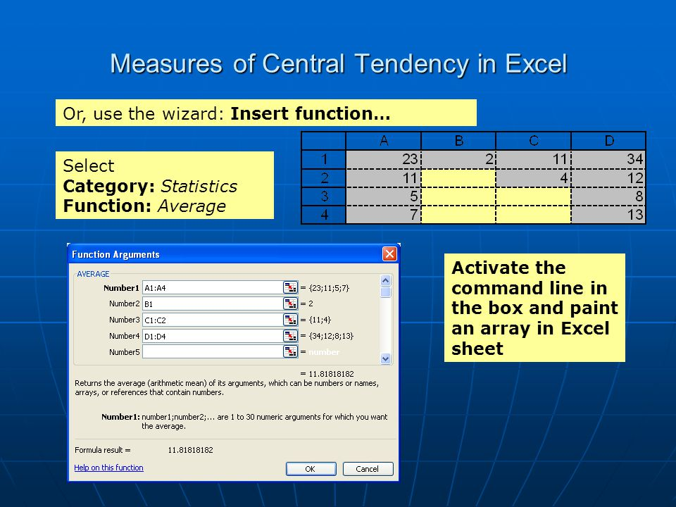 Measures of Central Tendency in Excel