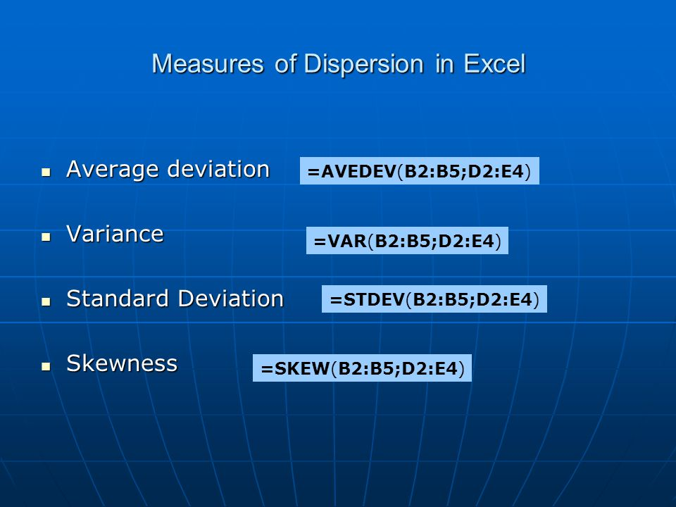 Measures of Dispersion in Excel