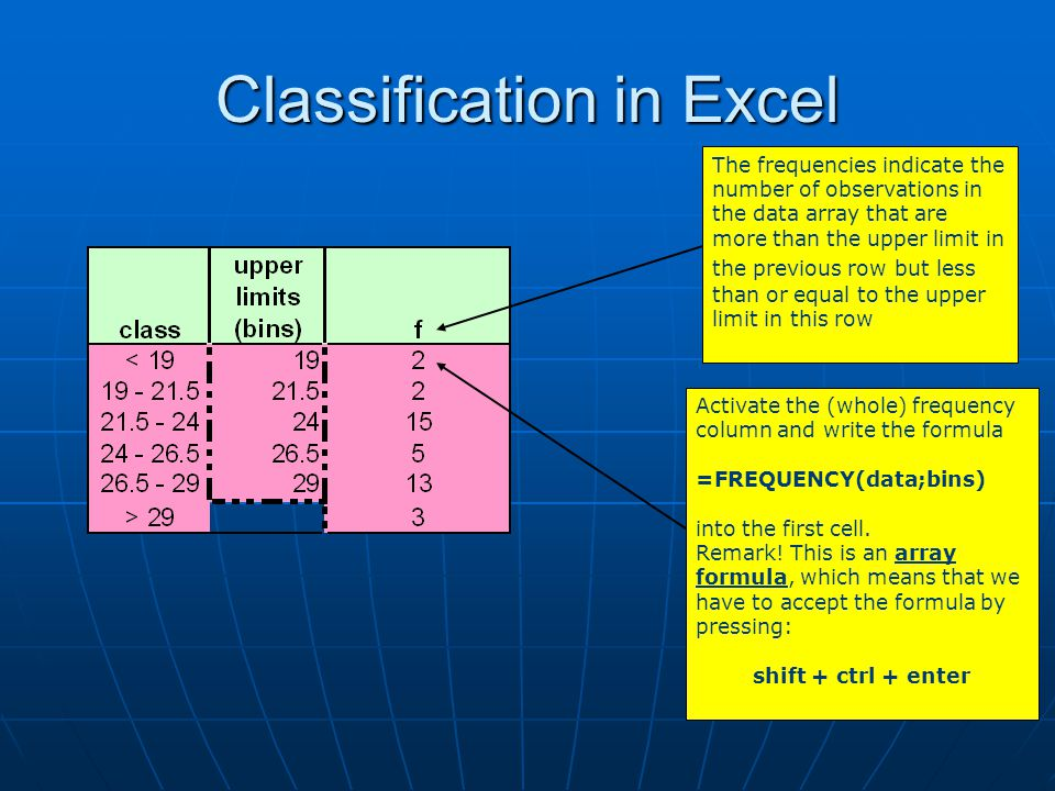 Classification in Excel