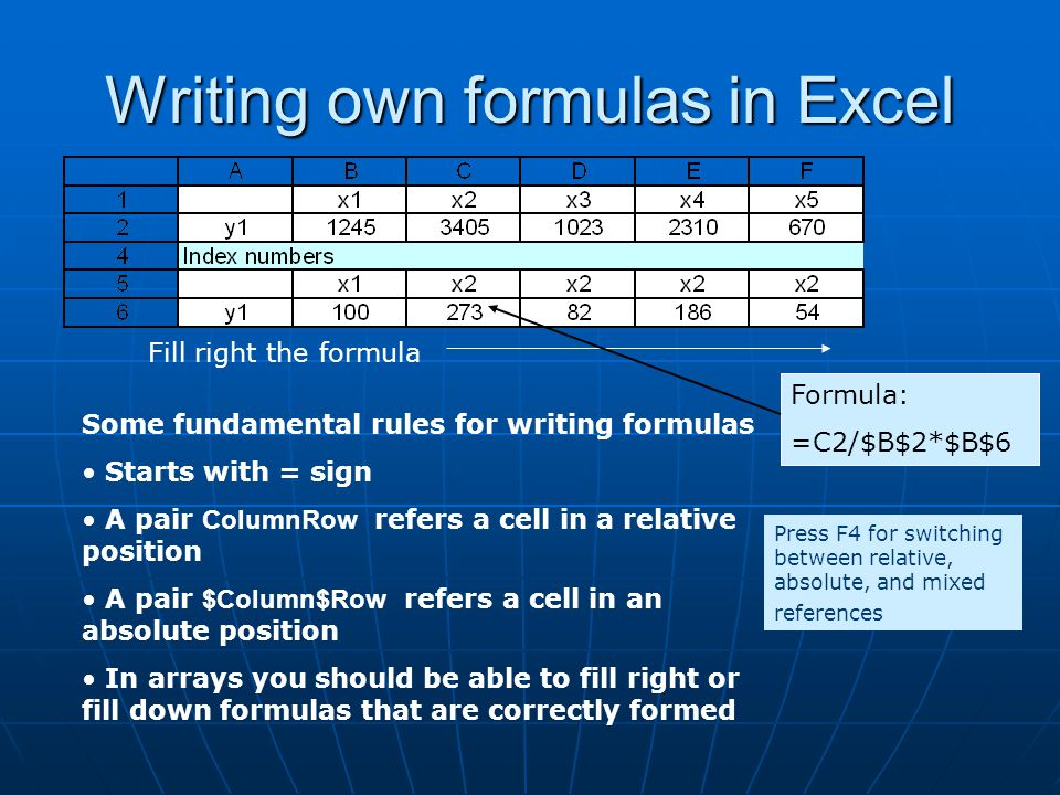 Writing own formulas in Excel