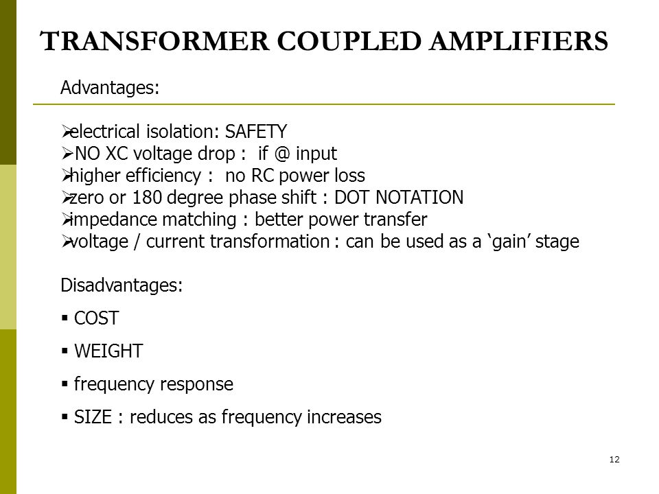 TRANSFORMER COUPLED AMPLIFIERS
