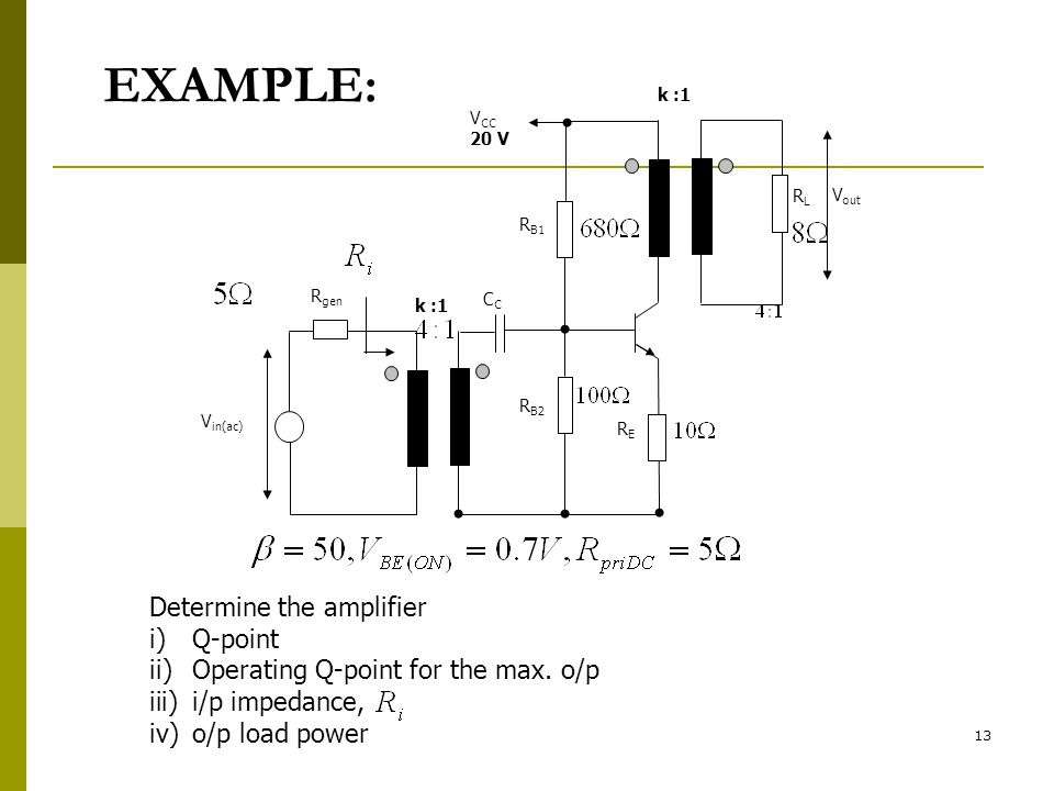 EXAMPLE: Determine the amplifier Q-point