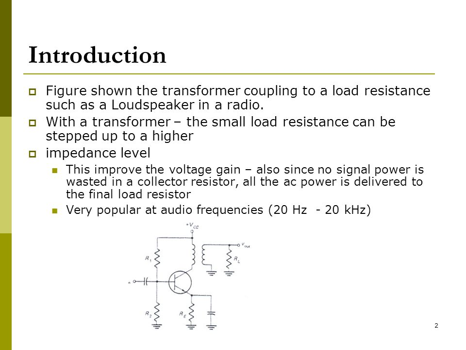 Introduction Figure shown the transformer coupling to a load resistance such as a Loudspeaker in a radio.
