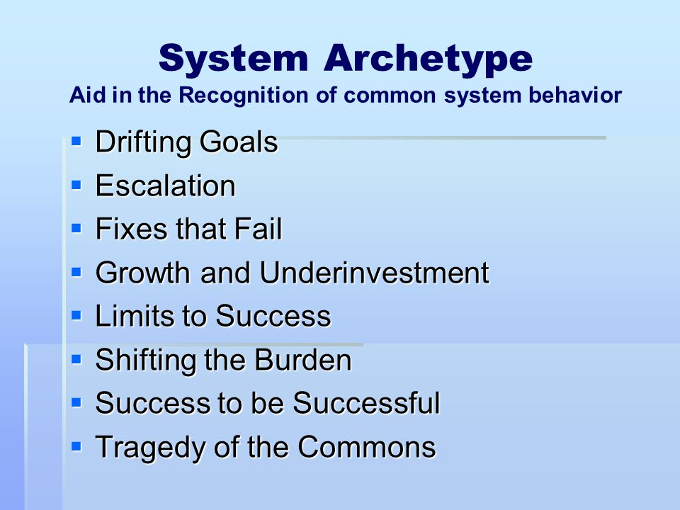 System Archetype Aid in the Recognition of common system behavior