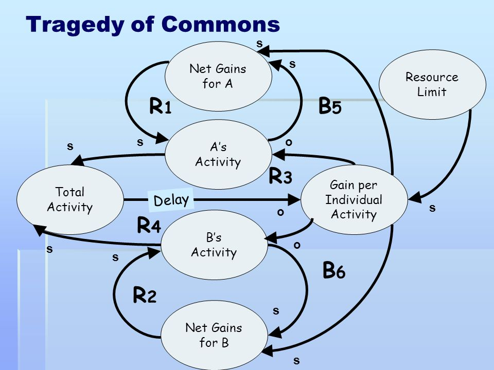 Tragedy of Commons R1 B5 R3 R4 B6 R2 Delay s Net Gains for A Resource