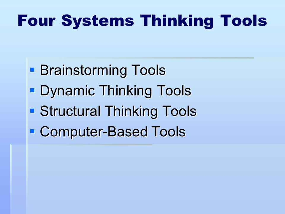 Four Systems Thinking Tools