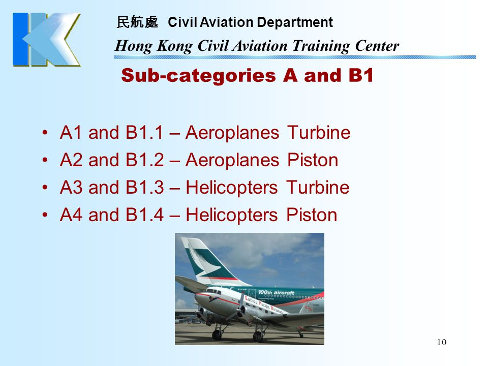 Sub-categories A and B1 A1 and B1.1 – Aeroplanes Turbine. A2 and B1.2 – Aeroplanes Piston. A3 and B1.3 – Helicopters Turbine.