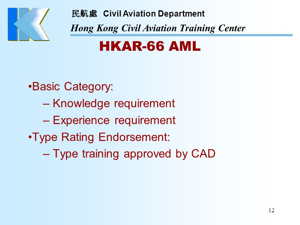 HKAR-66 AML Basic Category: Knowledge requirement