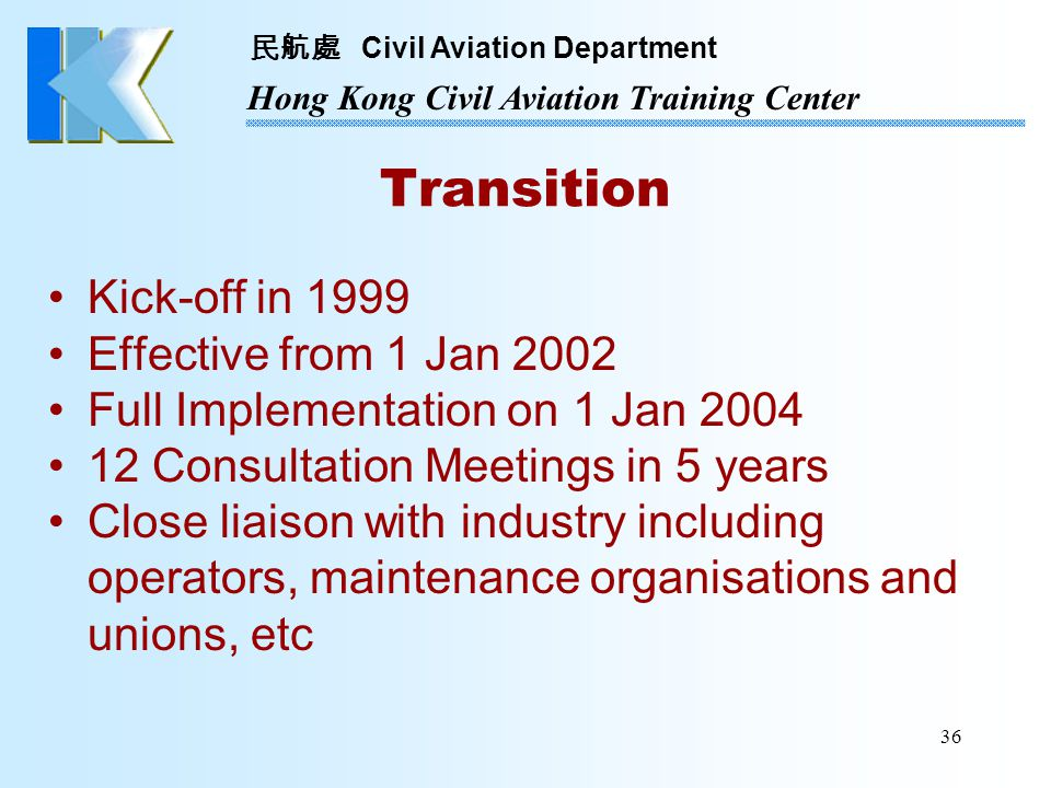 Transition Kick-off in 1999 Effective from 1 Jan 2002