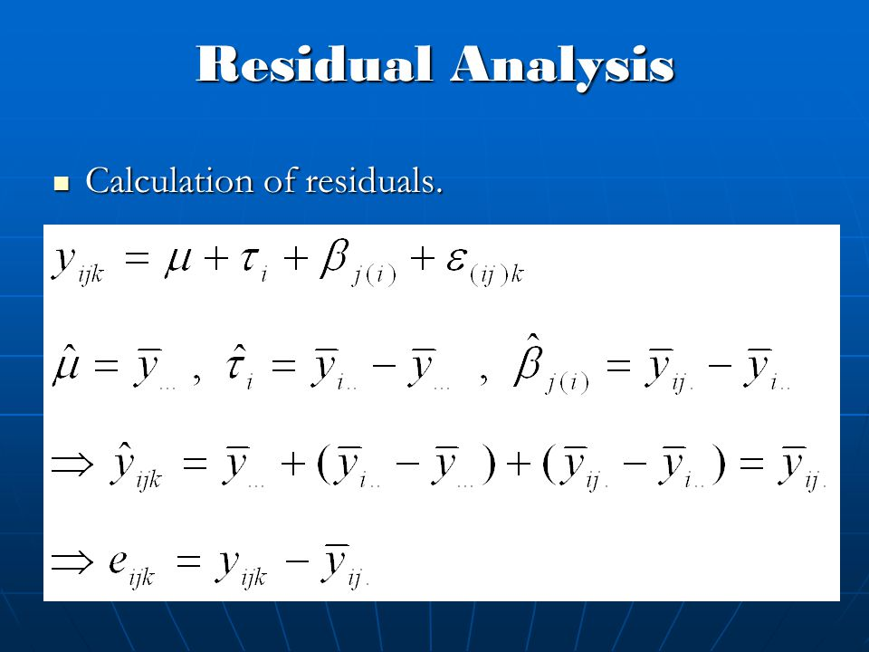 Residual Analysis Calculation of residuals.