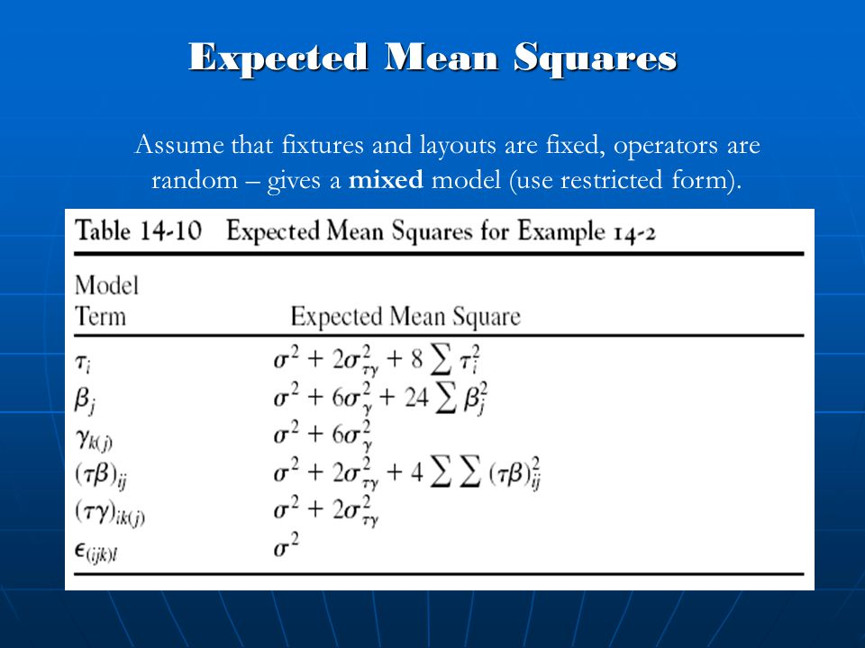 Expected Mean Squares Assume that fixtures and layouts are fixed, operators are random – gives a mixed model (use restricted form).