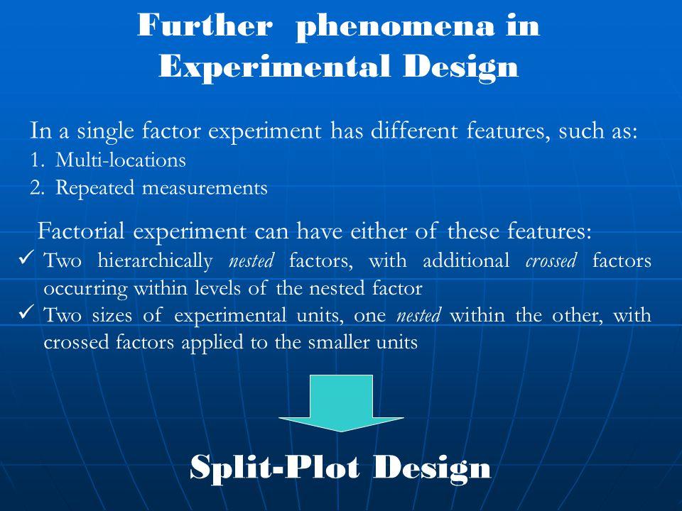 Further phenomena in Experimental Design