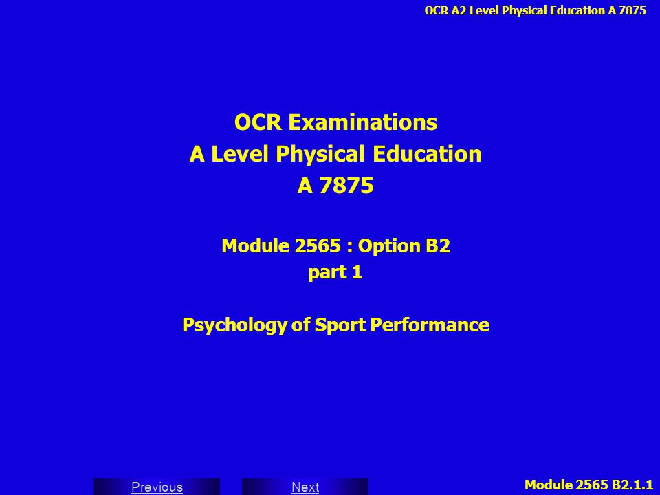 A Level Physical Education Psychology of Sport Performance