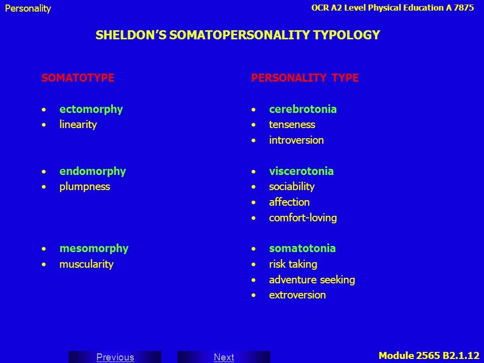 SHELDON'S SOMATOPERSONALITY TYPOLOGY