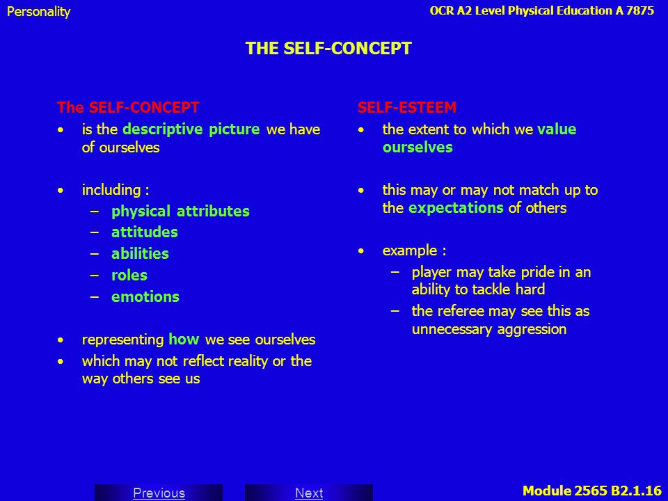 THE SELF-CONCEPT The SELF-CONCEPT