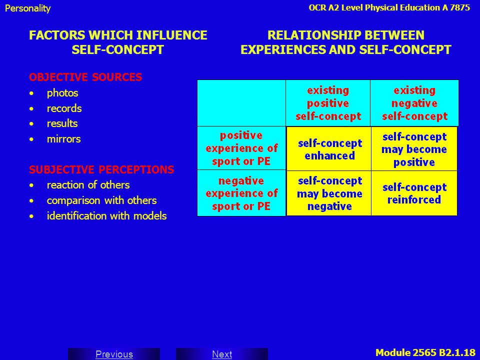 FACTORS WHICH INFLUENCE SELF-CONCEPT