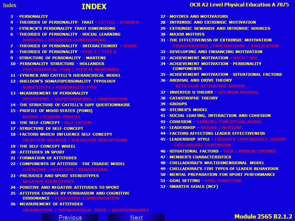 INDEX Index 3 - PERSONALITY