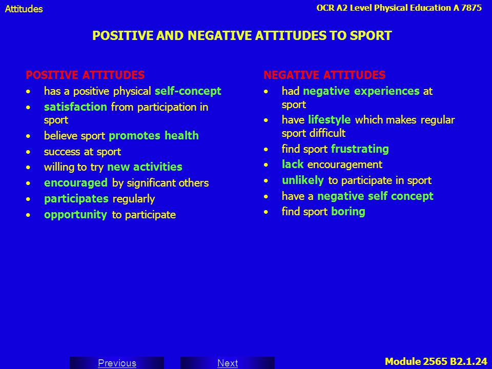 POSITIVE AND NEGATIVE ATTITUDES TO SPORT
