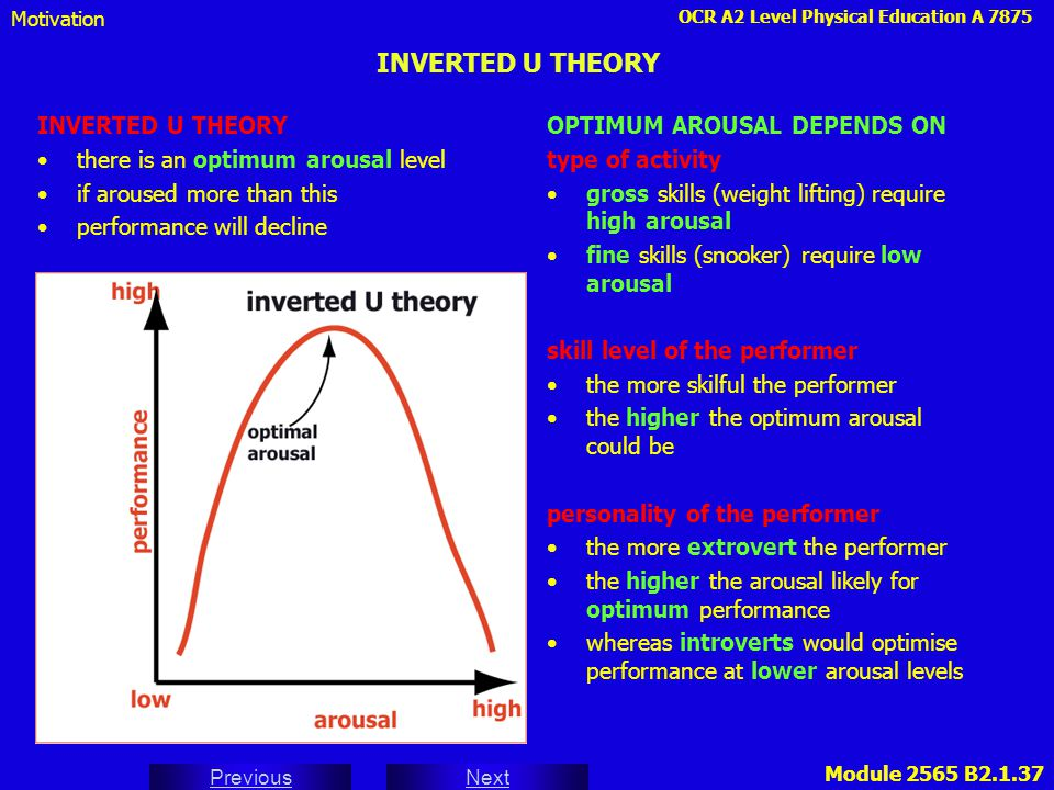 INVERTED U THEORY INVERTED U THEORY there is an optimum arousal level